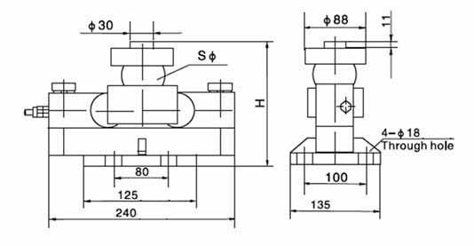 Chiều cao lắp đặt Loadcell HM9B 10~40tSE