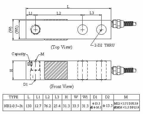 Kích thước lắp đặt Loadcell NB2 (0.5~3t)