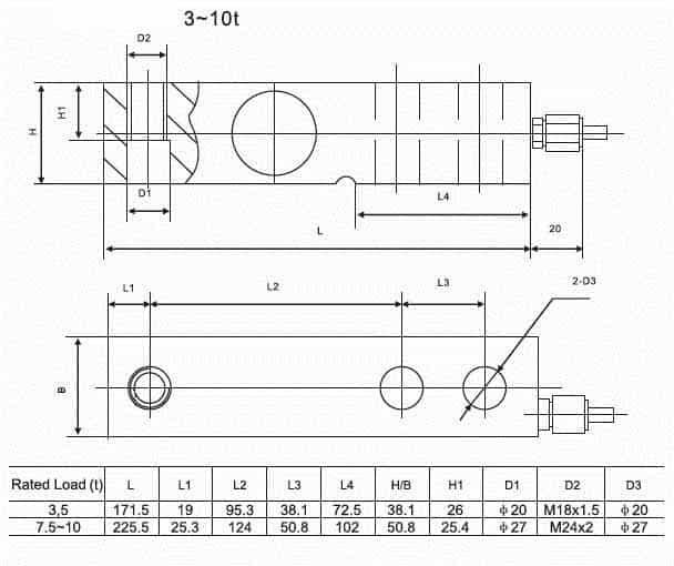 Kích thước lắp đặt Loadcell SQB-D 3~10t